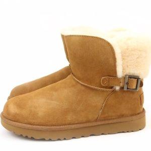 UGG Australia Karel Chestnut Sheepskin Cuff Boots